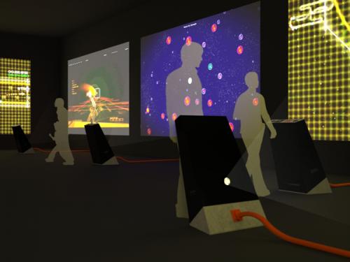 Esquisse de la scénographie d'Arcade ! Jeux vidéo ou Pop art ?